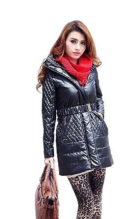 2be02e5f1823 Colorfulworldstore Winter Women s Crystal faux leather slim coat-America  Slim coat+Detachable hood (