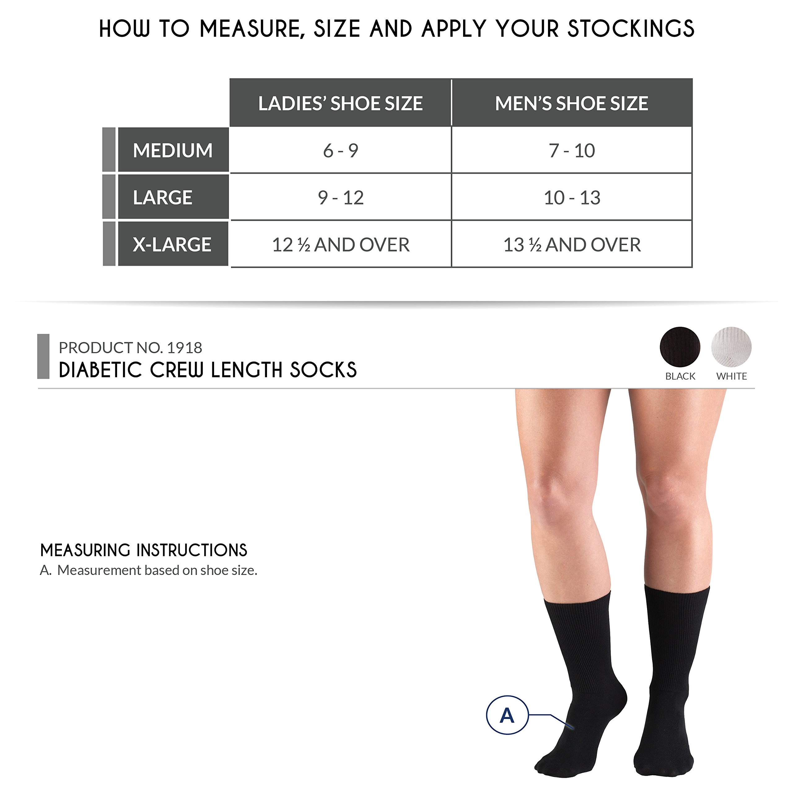 Truform Diabetic Socks Loose Fit, Medical Style, 3 Pairs, White by Truform (Image #3)