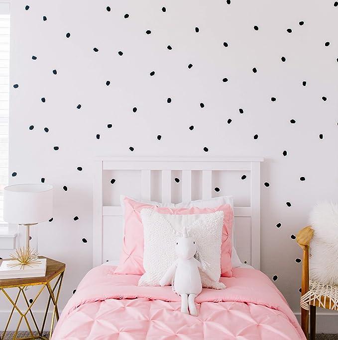 "Modern Maxwell Wall Art Decals for Girls Boys Nursery, Bedroom, Living Room  ""London"" Black Dot Room Sticker 168 Pieces"