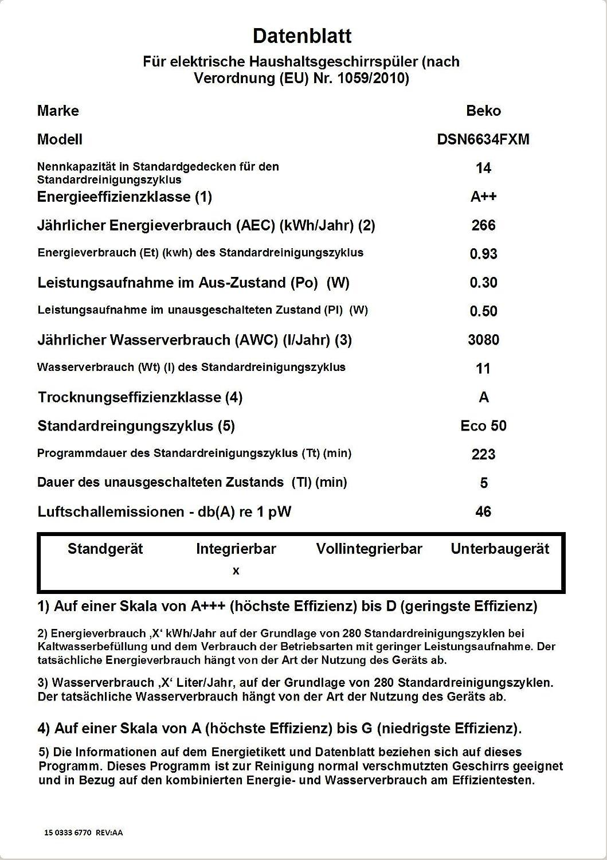 Tray Wash//SteamGloss 6 Programme Beko DSN6634FXM Geschirrsp/üler teilintegriert ohne M/öbelfront//Edelstahlblende Watersafe+ 46 dB Betriebsger/äusch