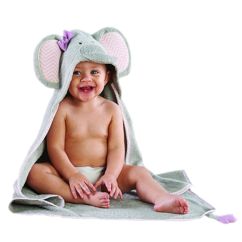 Baby Aspen Splish Splash Elephant Bath Hooded Spa Towel, Gray BA14031NA