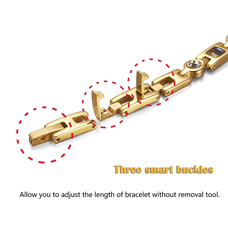 Rainso Womens Titanium Steel Golf Magnetic Therapy Bracelet Rhinestone Health Wristband with 3 Smart Buckle h69VJ