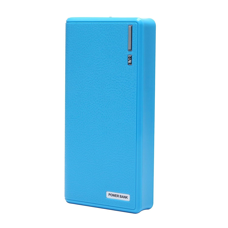 USB Batería Externa 20000mAh 5V / 2.1A Cargador con linterna para iPad, Mini, iPhone 6S, 6S + 6,6 +, 5S, Samsung Galaxy S5, S4, S3 (20000mah-azul)