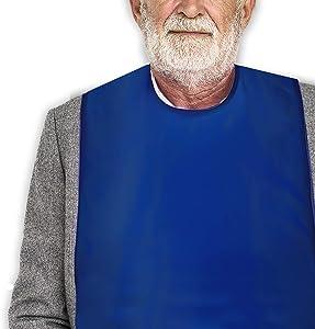 Classy Pal Adult Bibs for Women & Men, Wipe 'n Wear Clothing Protectors for Eating, Senior Adult Bib Crumb Catcher, Waterproof, Reusable, Washable (Blue)