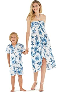 d2ccf0d8a21f Matching Mother Son Hawaiian Luau Outfit Dress Shirt in Simply Blue Leaves