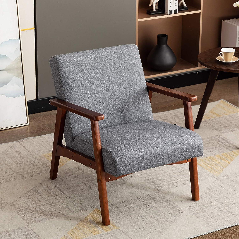 Artechworks Retro Linen Fabric Armchair Wood Frame Upholstered
