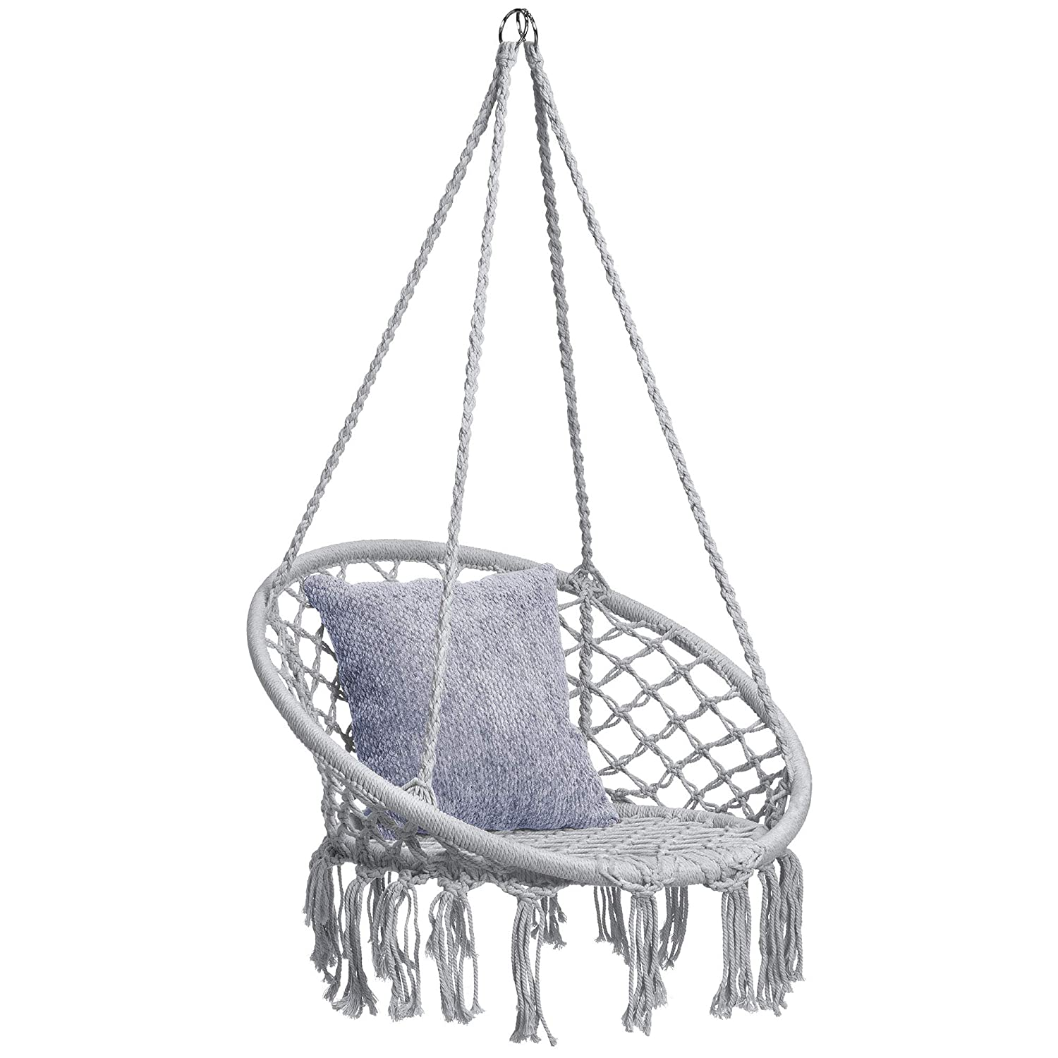 Best Choice Products Indoor/Outdoor Hanging Cotton Macrame Rope Hammock Lounge Swing Chair w/Fringe Tassels - Gray