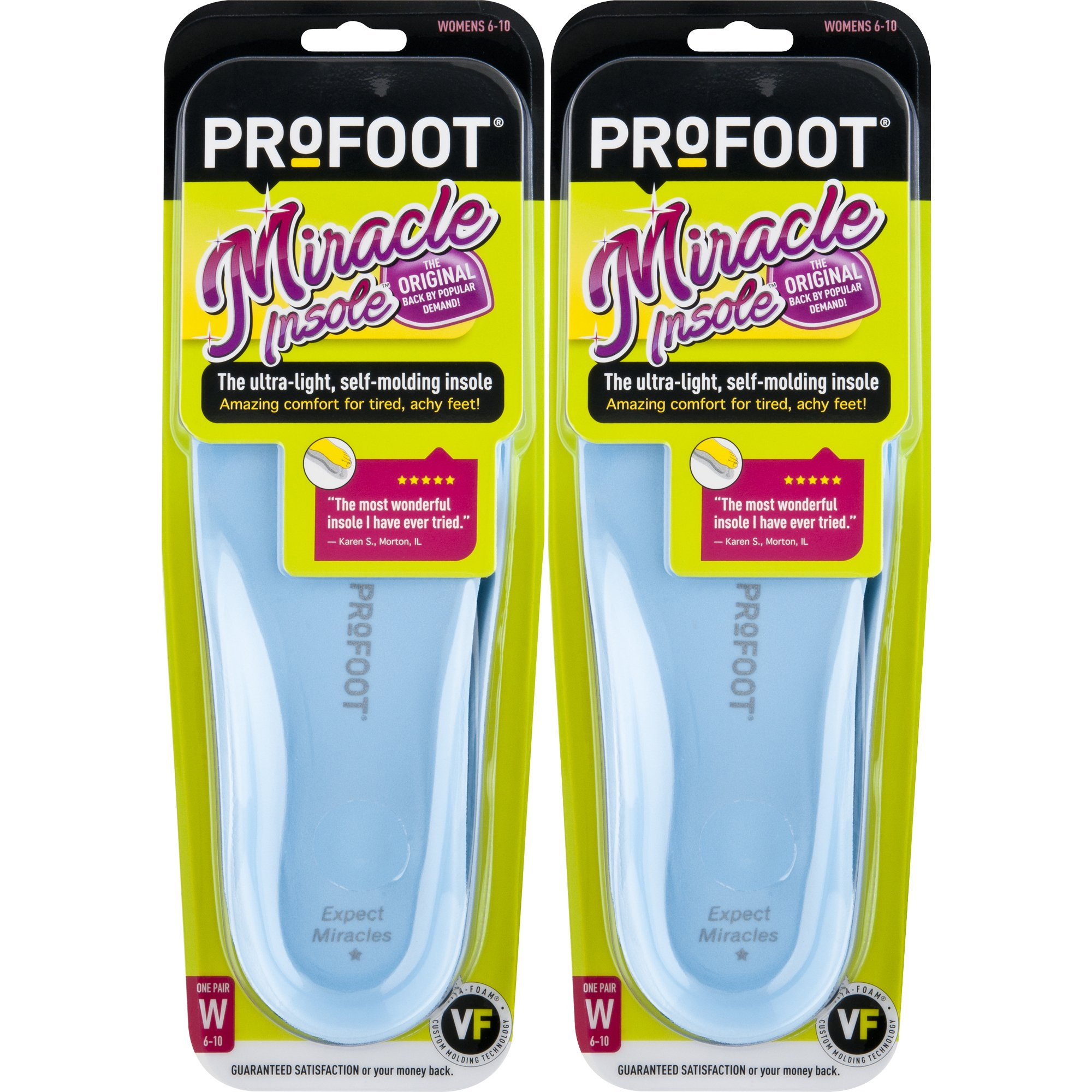 ProFoot Original Miracle Molding Insoles Women's Sizes 6-10, 2 Pair (Colors May Vary), 2-Layer Insole with Memory-Foam Technology, for Relief from Sore Feet and Aching Heels