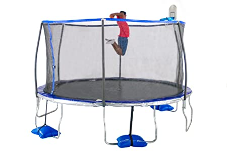 TruJump Trampoline with Tru-Steel Enclosure Airdunk Basketball System
