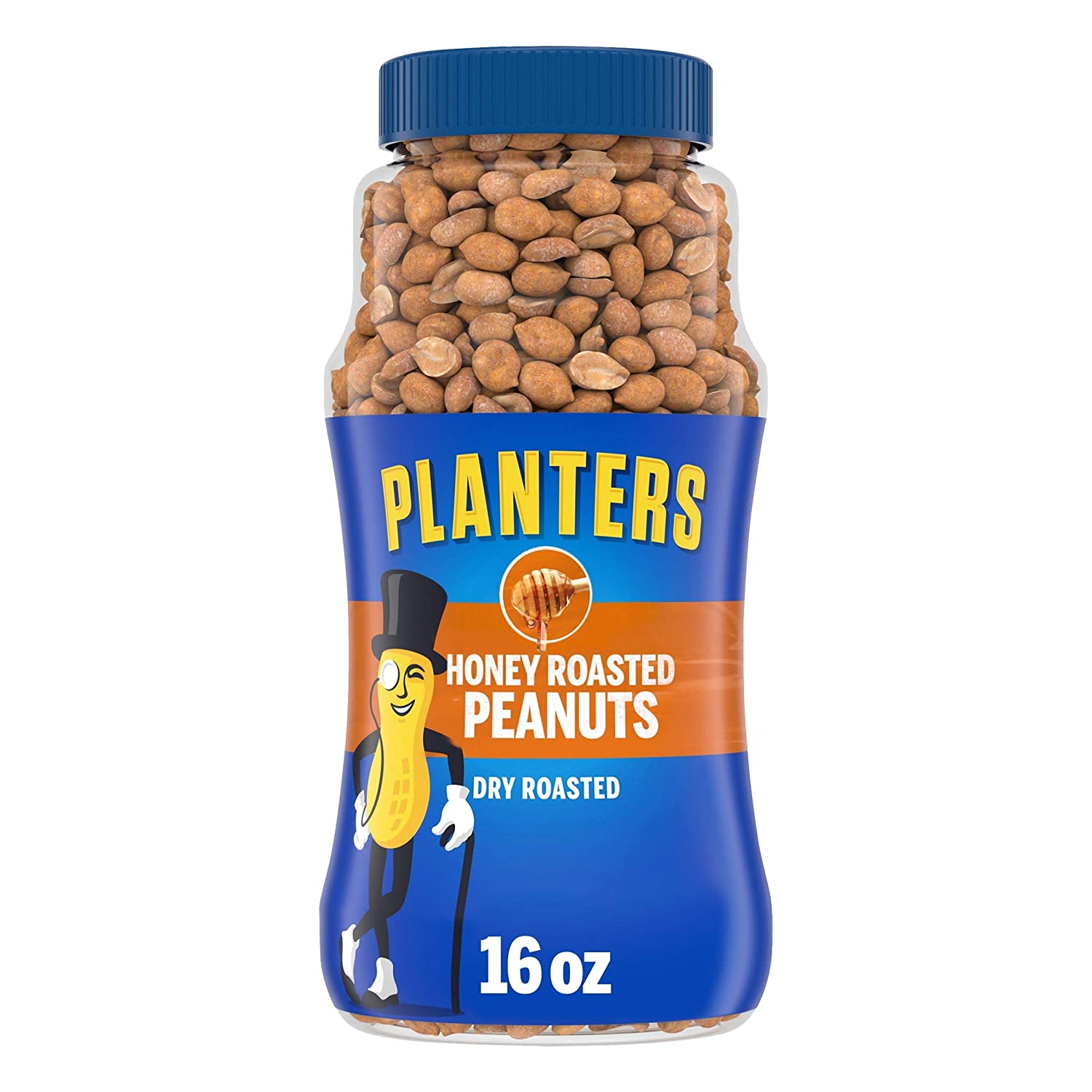 PLANTERS Honey Roasted Peanuts, 16 oz. Resealable Jar   Flavored Peanuts with a Sweet Honey Coating & Sea Salt   Wholesome Snacking   Kosher
