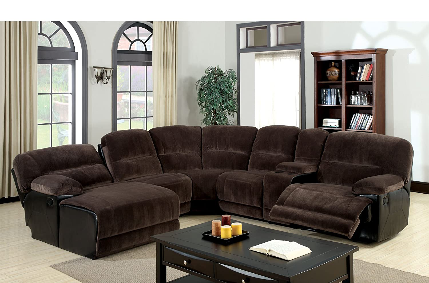 Amazon.com Furniture of America Ladden Elephant Skin Microfiber Sectional Sofa with 2 Recliners Dark Brown Kitchen u0026 Dining & Amazon.com: Furniture of America Ladden Elephant Skin Microfiber ... islam-shia.org