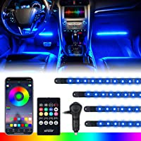 [Upgraded] Xprite RGB LED Car Interior Bluetooth Light Strips with Wireless Remote, Silicone Sealed, Under Dash Footwell…
