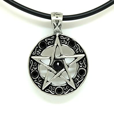 Amazon 18 pvc necklace color star pentagram pentacle pagan 18quot pvc necklace color star pentagram pentacle pagan wiccan witch gothic pewter pendant aloadofball Gallery