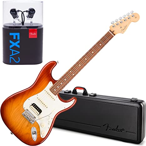 Fender American profesional guitarra eléctrica Strat HSS Shaw RW Sienna Sunburst w/caso y fxa2