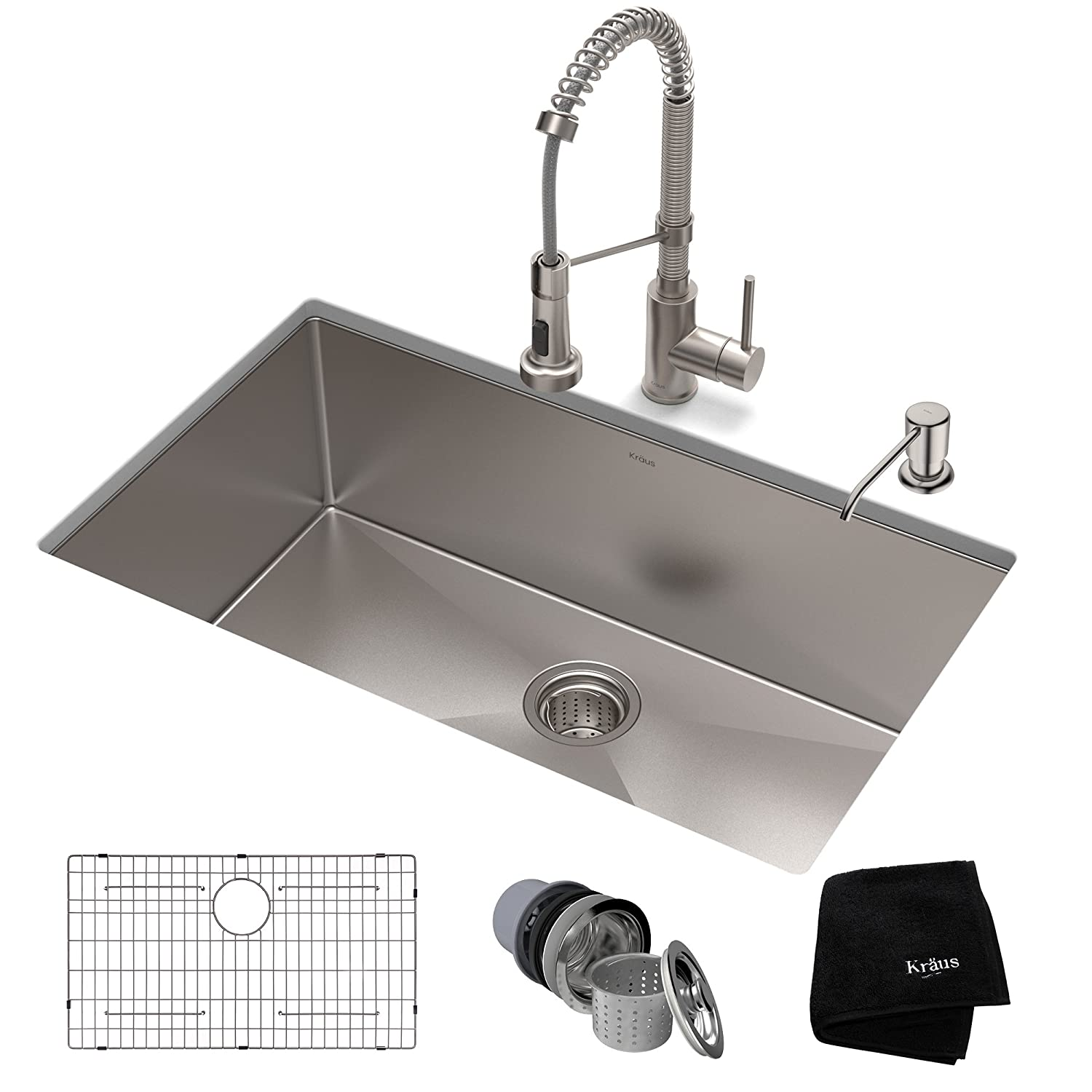 KRAUS KHU100-32-1610-53SS Set with Standart PRO Sink and Bolden Commercial Pull Faucet in Stainless Steel Kitchen Sink & Faucet Combo 32 Inch