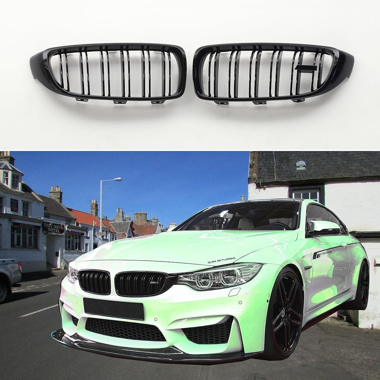 BMW Serie 4 F32 F33 F36 F82 F83 rejillas frontales riñón de negro brillante con emblema M4: Amazon.es: Coche y moto