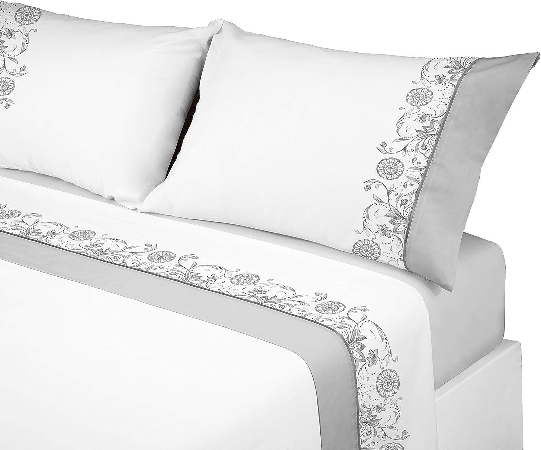 Manterol ALGODONEA- Juego de sábanas 100% algodón, (Gris, 150): Amazon.es: Hogar
