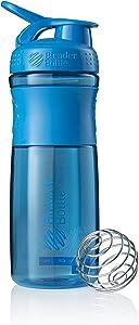 BlenderBottle SportMixer Tritan Grip Shaker Bottle, Cyan/Cyan, 28-Ounce
