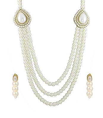 707f5bf123802 Zaveri Pearls Grand Moti Rani haar Necklace Set for Women (White) (ZPFK4137)