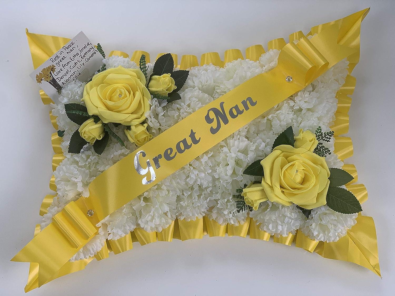 dad gran Funeral Flowers Wreath pillow Memorial Tribute Artificial Silk butterfly tribute mum nan