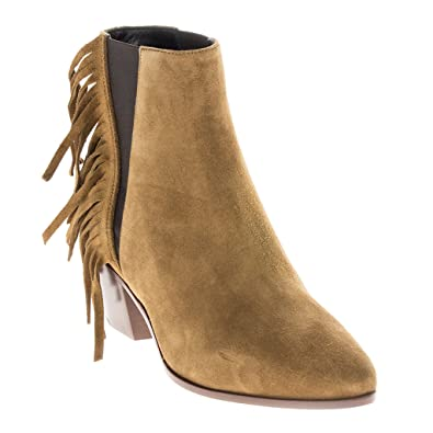 0b9a1b874f6 Saint Laurent Women s  Wyatt 40  Side Fringe Elastic Panel Ankle Boot Suede  Tan