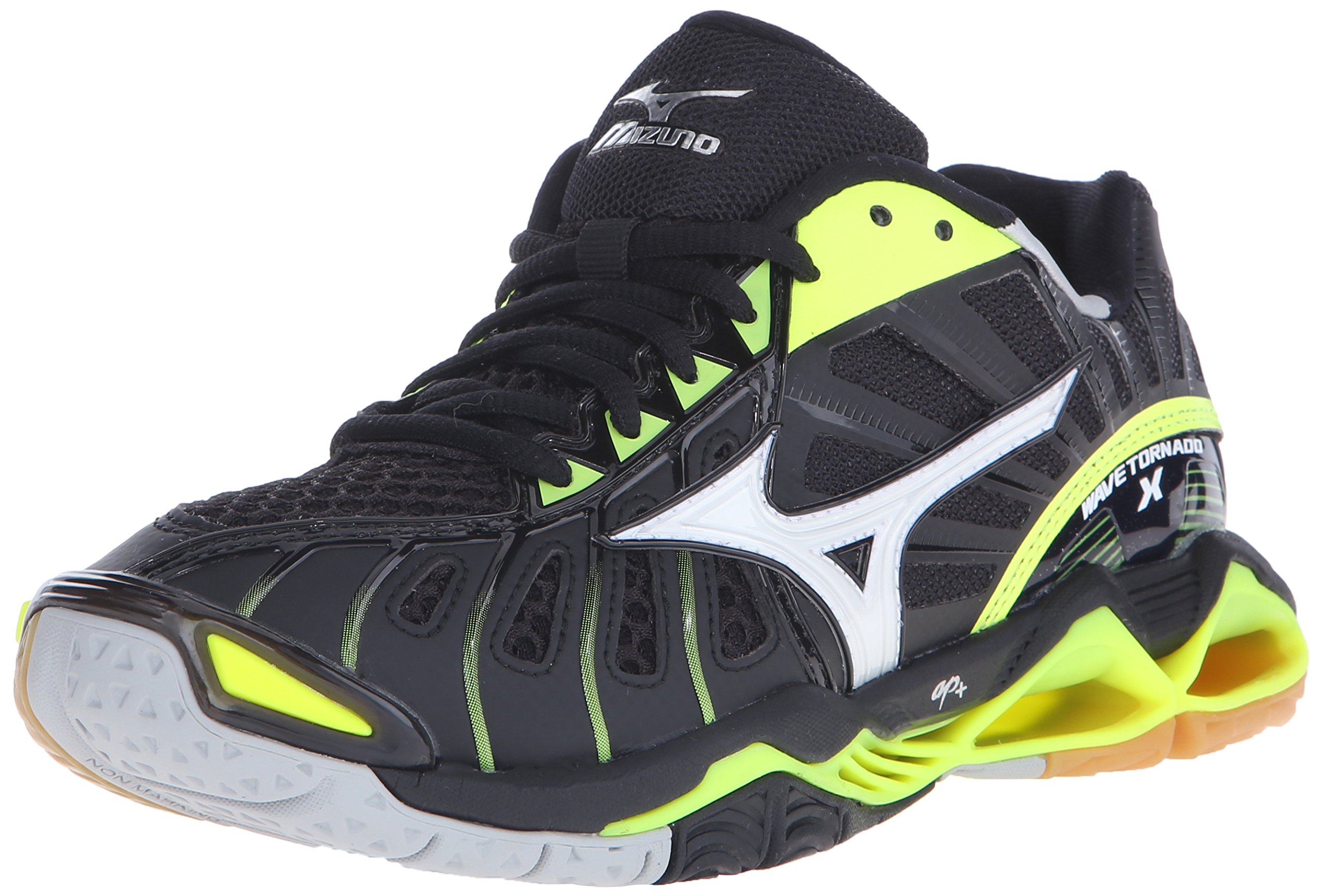 Mizuno Women's Wave Tornado x-w Volleyball Shoe, Black/Neon Yellow, 7.5 B US