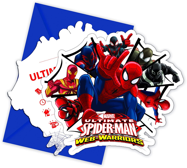 Ultimate Spiderman Web Warriors Gestanzte Einladungskarten mit Umschlag