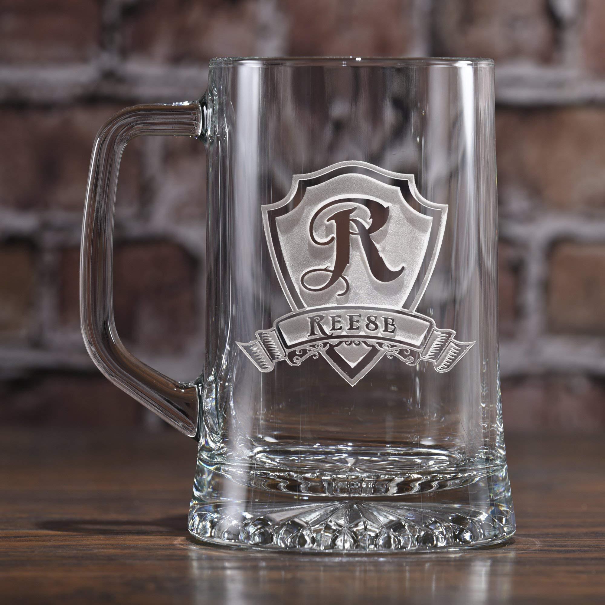 Personalized, monogrammed beer mugs SET OF 7 (M30)