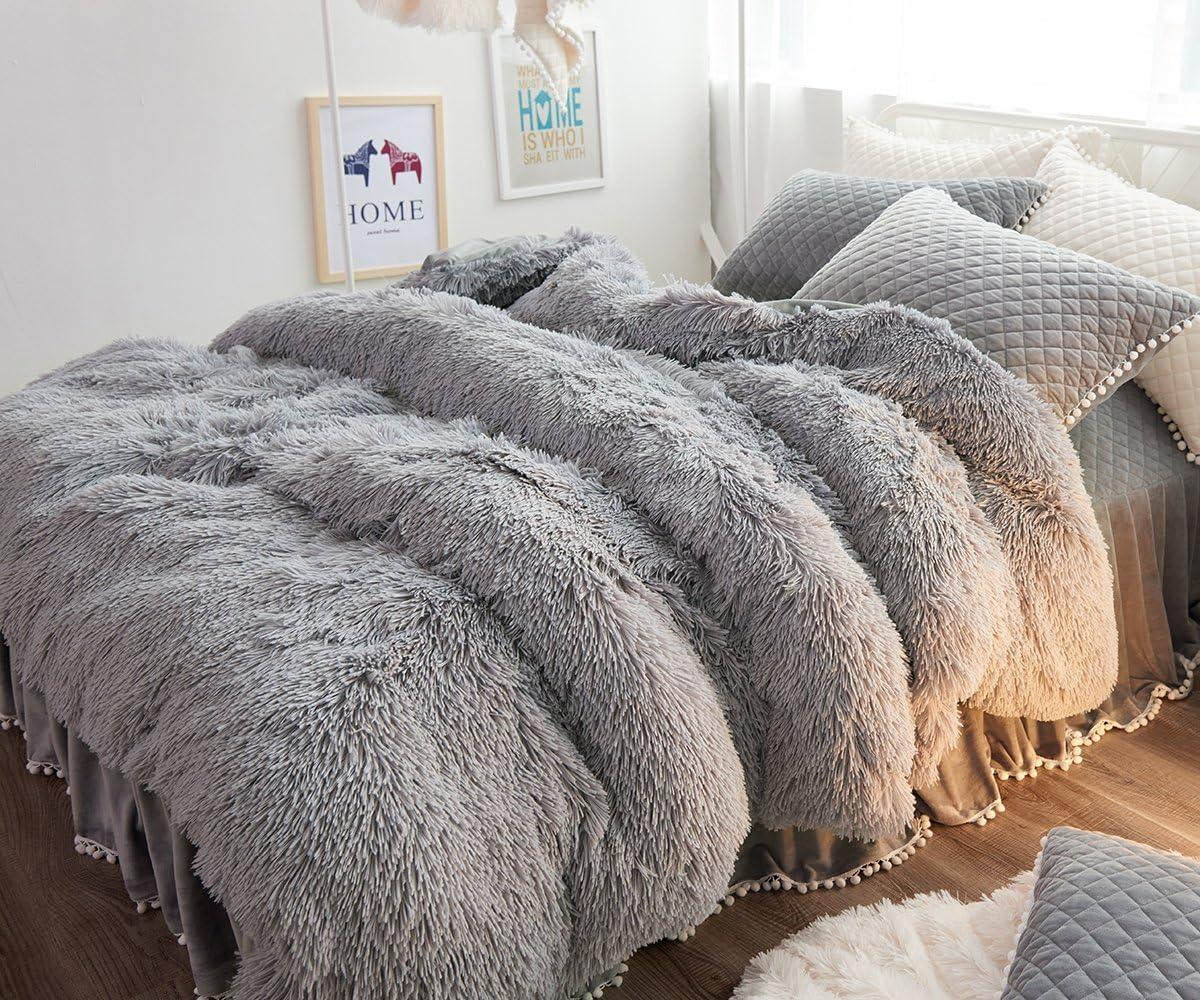 Ceruleanhome 1pc 100% Velvet Flannel Duvet Cover, Solid Color, No Inside Filler, Zipper Close (King 1pc Duvet Cover, Grey)