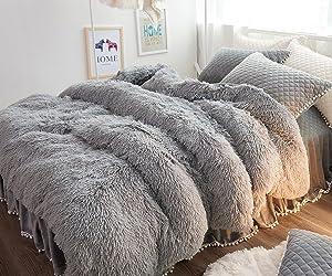 Ceruleanhome 1pc 100% Velvet Flannel Duvet Cover, Solid Color, No Inside Filler, Zipper Close (Queen 1pc Duvet Cover, Grey)