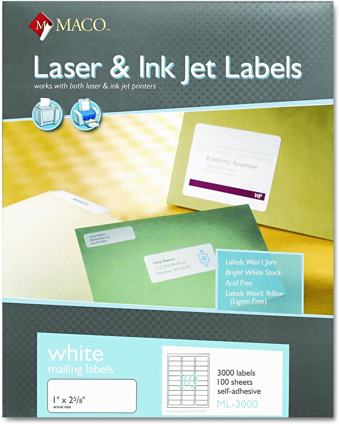 Maco Laser/Ink Jet White Address Labels, 1 x 2-5/8 Inches, 100 Sheets, 3000 Per Box (ML-3000): Office Products
