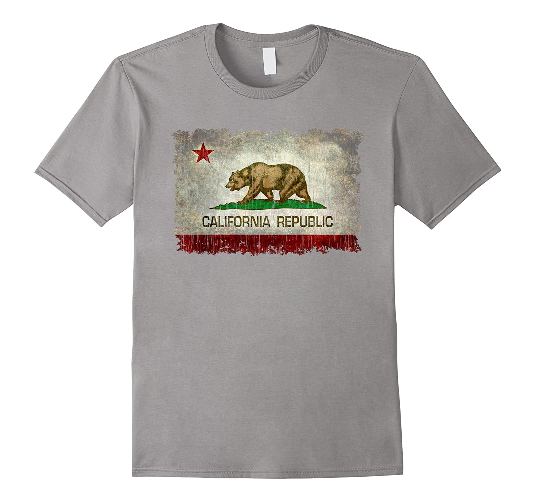 Vintage California Flag T-Shirt - Heavy distressed textures-FL