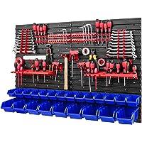 Gereedschapswand stapelboxen - 1152 x 780 mm - opslagsysteem SET gereedschapshouders en 23 blauwe dozen - wandrek…