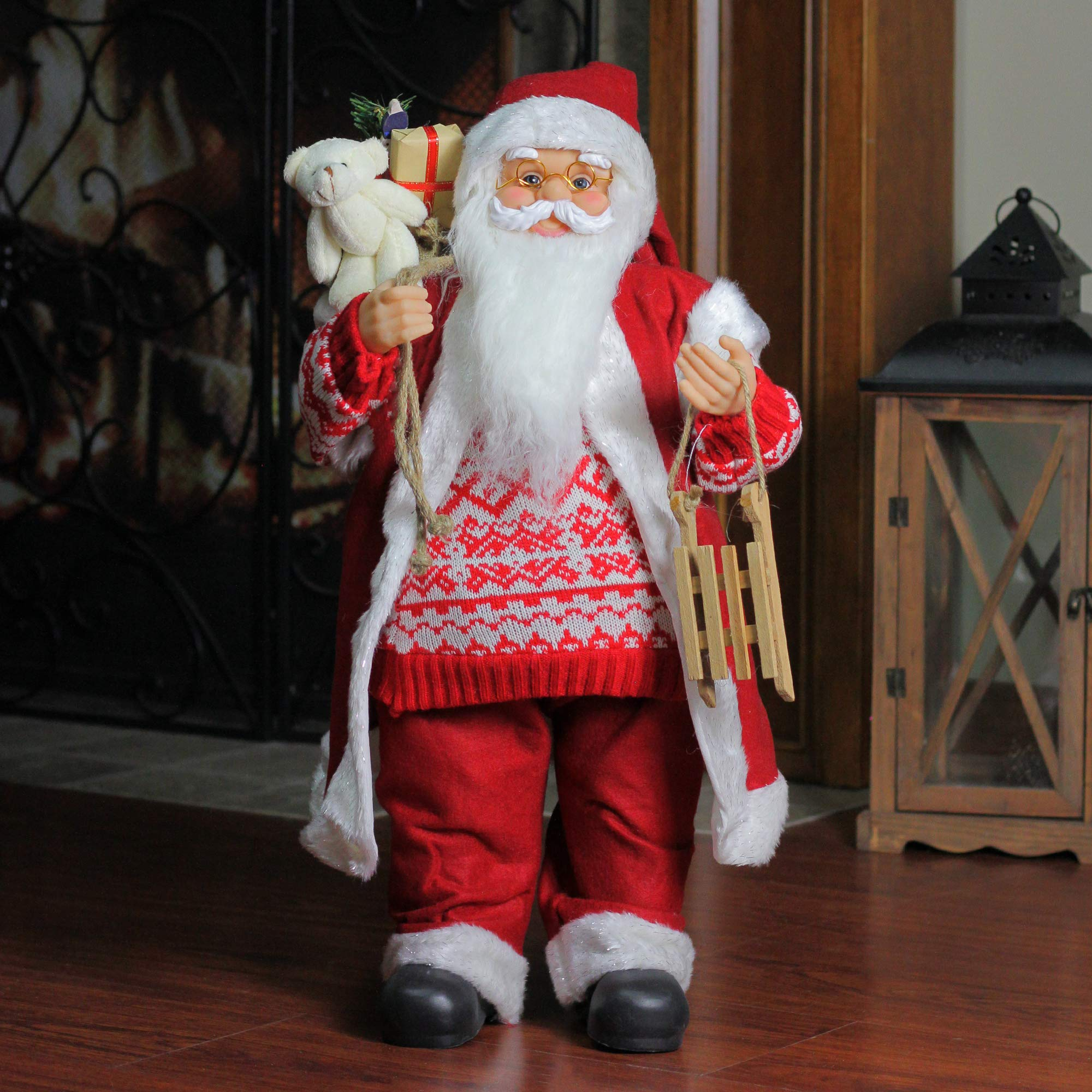 Northlight 24'' Country Twist Standing Santa Claus Christmas Figure with Snow Sled and Gift Bag