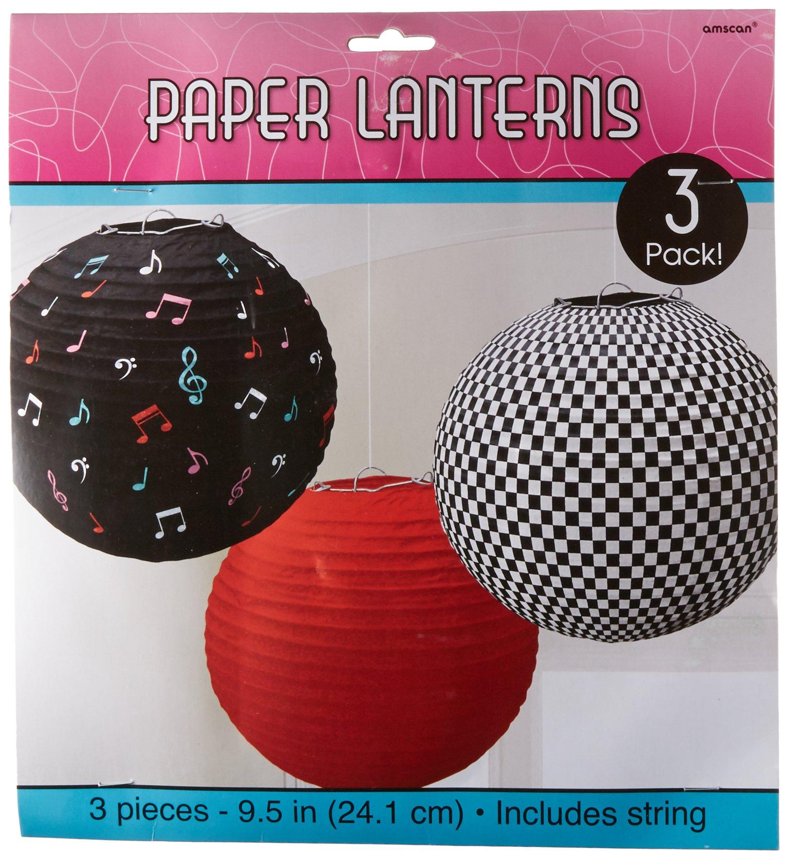 50's Round Printed Party Lanterns, 9.5'', 3 Ct.