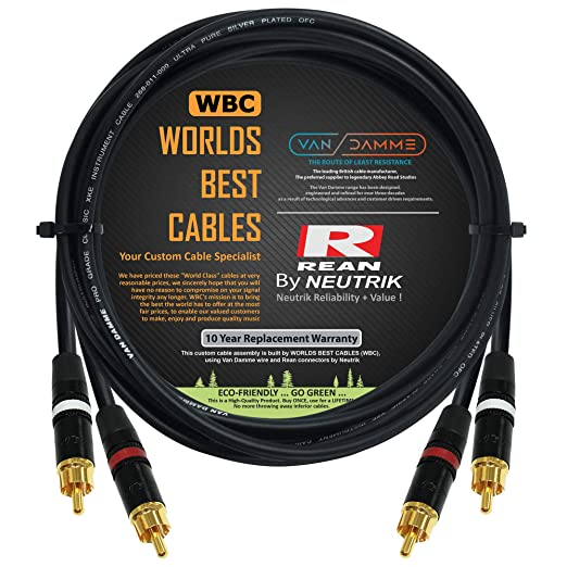 Quality 3.5mm stereo Jack to 2xRCA phono Van Damme Y splitter cable 2m