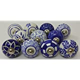 10 Blue and White Hand Painted Ceramic Knobs Cabinet Knobs Kitchen Cabinet Drawer Pull handles By Zoya's lot of 10 knobs