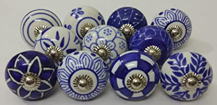 10 Blue And White Hand Painted Ceramic Knobs Cabinet Knobs Kitchen Cabinet  Drawer Pull Handles By