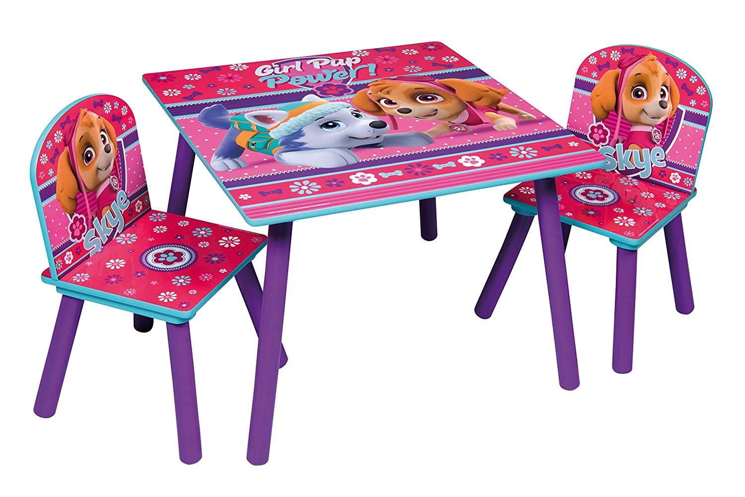 Pat Patrouille fille 80434-S Lot de Table + 2 Chaises, MDF, Rose/Violet, Taille Unique Global Industry