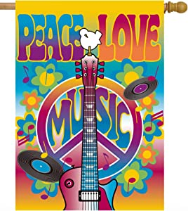 """ShineSnow Peace Love Symbol Guitar Dove Woodstock Music and Art Fair House Flag 28"""" x 40"""" Double Sided Polyester Welcome Large Yard Garden Flag Banners for Patio Lawn Home Outdoor Decor"""