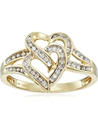 10k Yellow Gold Diamond Heart Ring (1/10cttw, I-J Color, I2-I3 Clarity)