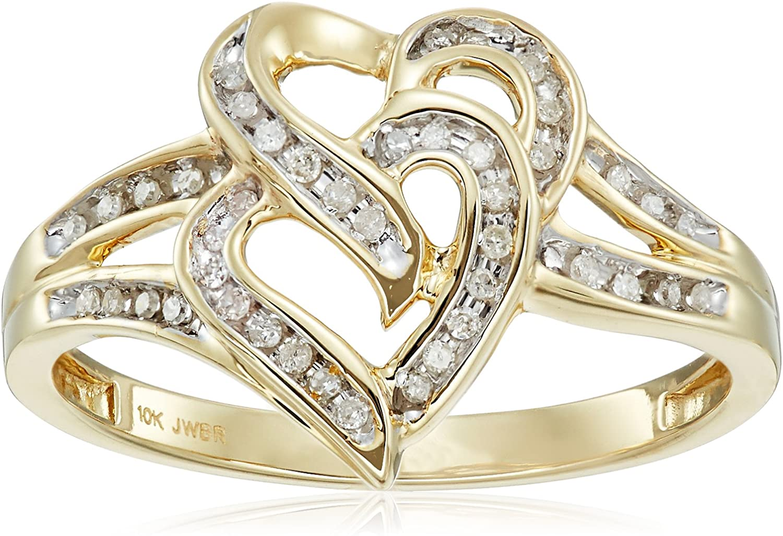 10k Yellow Gold Diamond Heart Ring (1/10cttw, I-J Color, I2-I3...