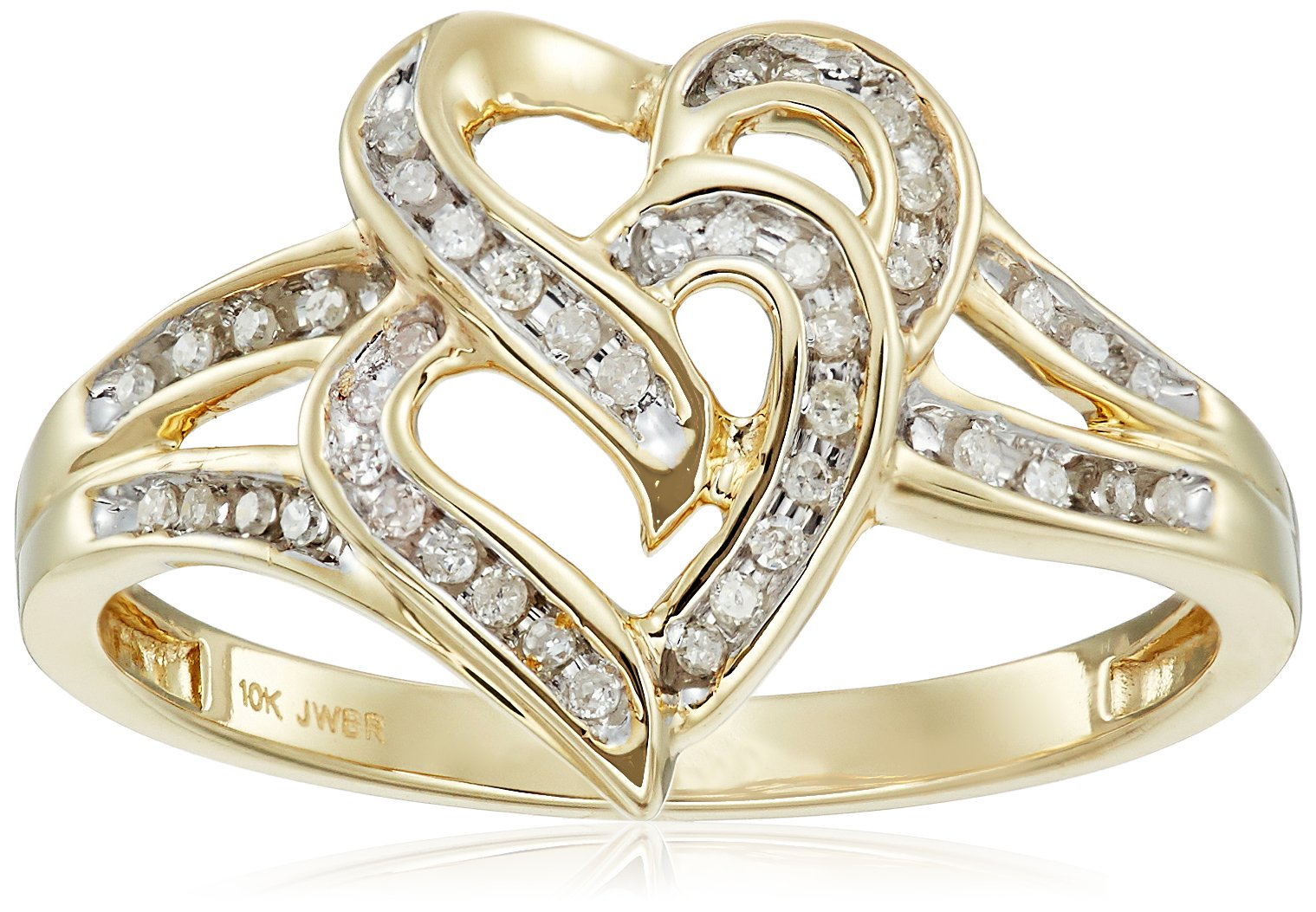 10K Yellow Gold Diamond Two Hearts Ring (1/10 cttw), Size 8 by Amazon Collection