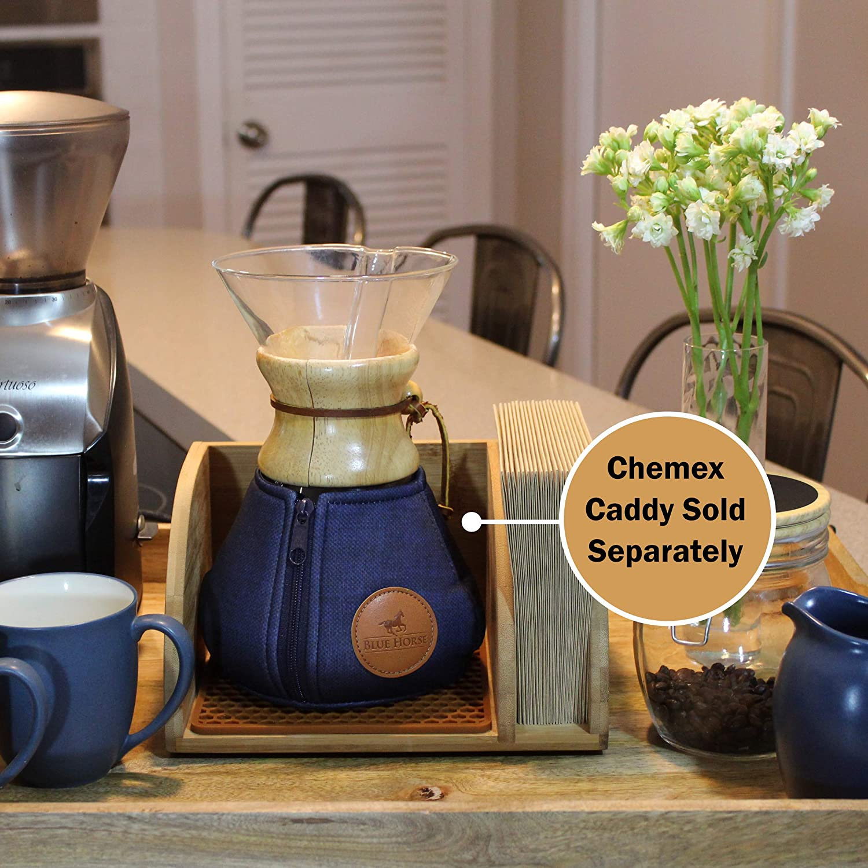 Caballo azul acogedor para cafetera Chemex 8 Cup Glass Handle azul ...