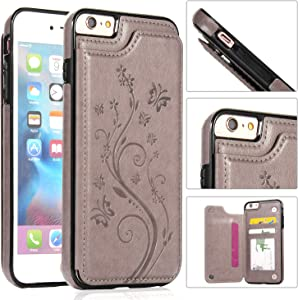 iPhone 6S Wallet Case,iPhone 6 Slim Fit Wallet Case for Women/Men,Aprilday Premium Leather Purse Case [Butterfly Flower] Durable Shockproof Cover with Wallet&Card Holder&Kickstand -4.7in Grey