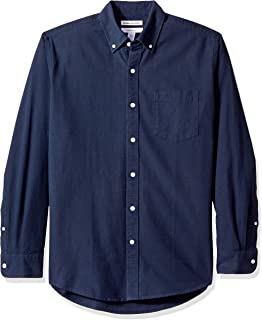 regul/äre Passform Essentials Herren-Oxford-Shirt unifarben Langarm