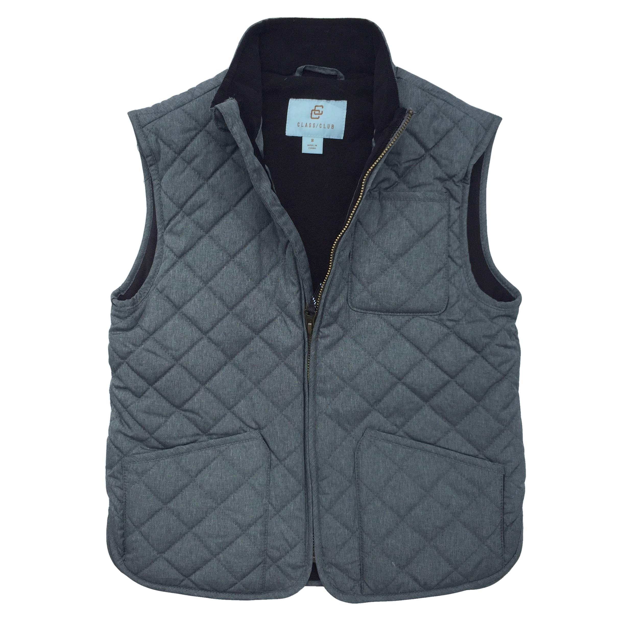 Class Club Little and Big Boys' Microfiber Quilted Vest Outerwear (Charcoal, 10/12)
