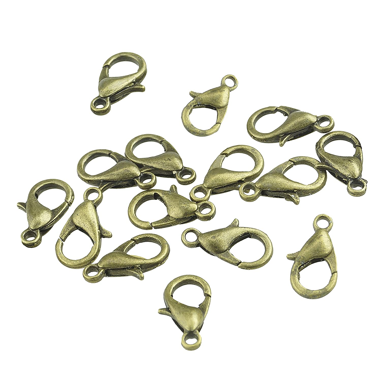 Curved Lobster Clasps -100 pcs Bronze Plated Lobster Claw Clasps Findings - 7 mm x 12 mm with Kare & Kind Retail Packaging (Bronze) 4336831610