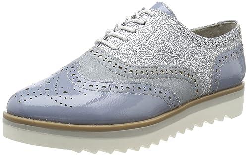 Marco Tozzi 23705, Zapatos de Cordones Brogue para Mujer, Azul (Denim Pat.Com.), 38 EU