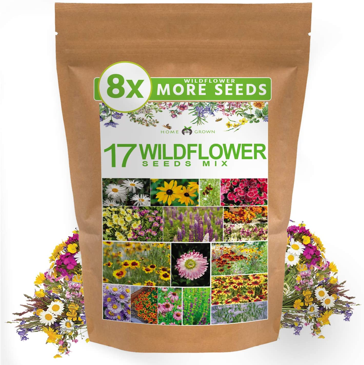 Wildflower Seeds - Flower Seed Pack [17 Variety] - Perennial Flower Seeds for Attracting Birds & Butterflies - Flower Seeds for Planting Outdoor - Non GMO, Open Pollinated - Flower Garden Seeds